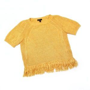 J. Crew Fringe Linen Knit Short Sleeve Sweater 141
